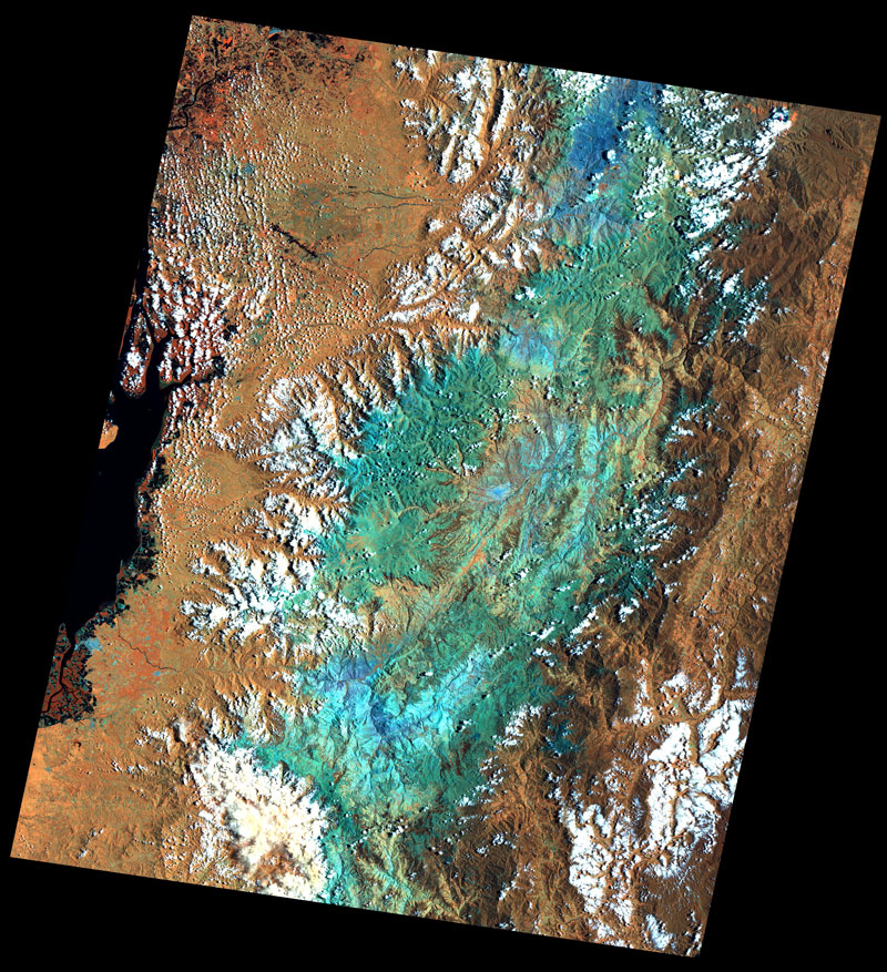 False colour satellite imagery, Ecuador